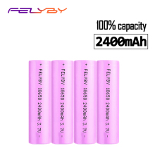 FELYBY HOT Original Brand 4pcs 18650 li-ion rechargeable battery 3.7V 100% 2400mAh 18650 battery 18650 Rechargeable Battery стоимость