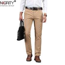 כניסות חדשות Mens עסקים מכנסי קזואל אופנה מכנסיים ישר כותנה אלסטי בסיסי קלאסי זכר אופנה מכנסיים בתוספת גודל 28 42