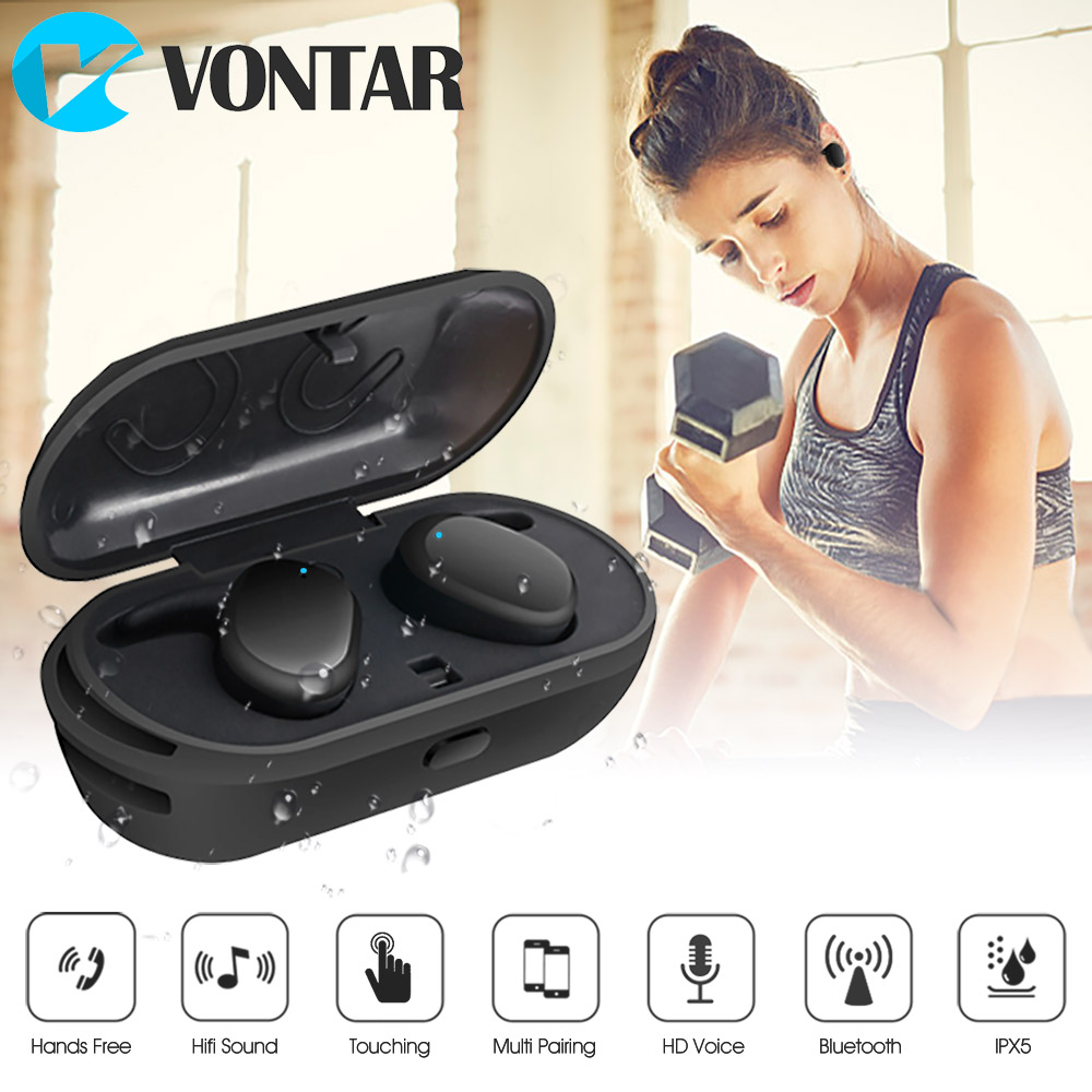 Newest Mini Wireless In-Ear True Wireless TWINS Earphone Blu