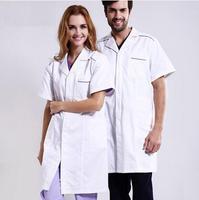 Classical Hospital Doctor Man Woman Medical White Scrub Coat Short Sleeve Dental Coats Nurse Beauty Salon