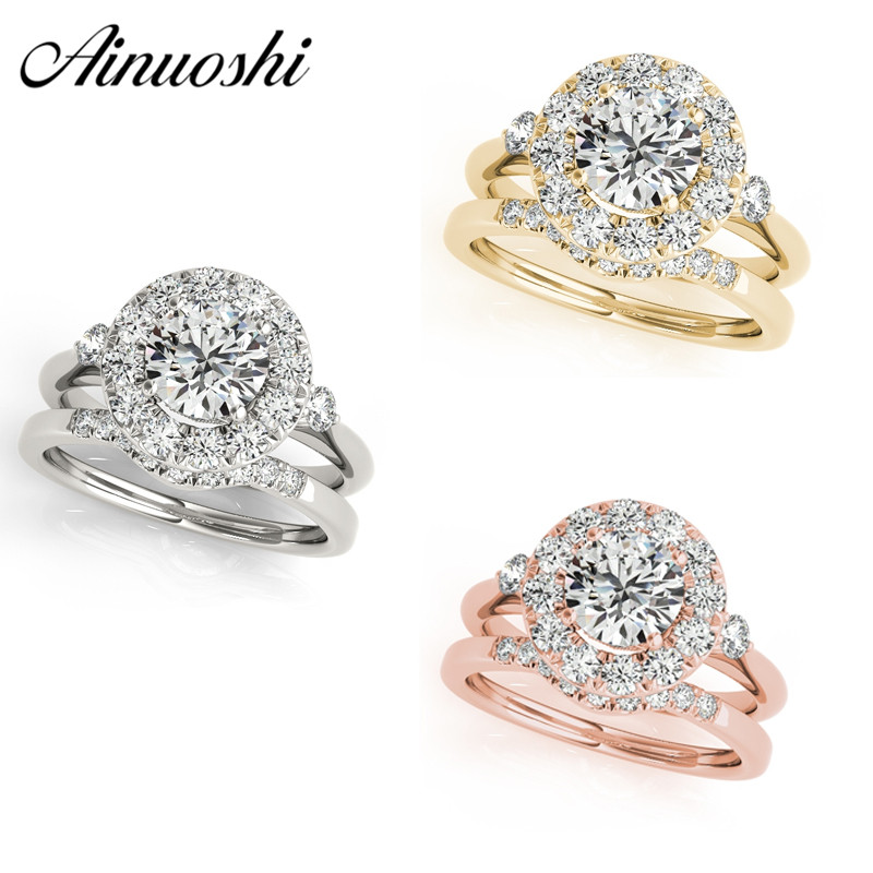 AINUOSHI 925 Sterling Silver Women Wedding Engagement Ring Sets Halo 1 Carat Round Cut Silver Party Ring Set Jewelry Lover Gifts ainuoshi trendy 925 sterling silver women wedding engagement ring halo 0 5ct emeralded cut ring aniversary gifts anillo de plata