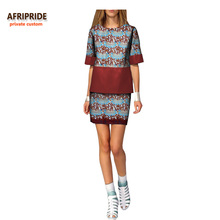 2018 summer women casual suit african print AFRIPRIDE half sleeve o-neck leather top+mini skirt casual suit for women A722669 casual u neck ethnic print racerback top for women