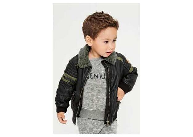 062 Retail 2015 New Fashion Boy Jacket Leather Faux Solid Patchwork Boy Coat Zipper Girl Clothes