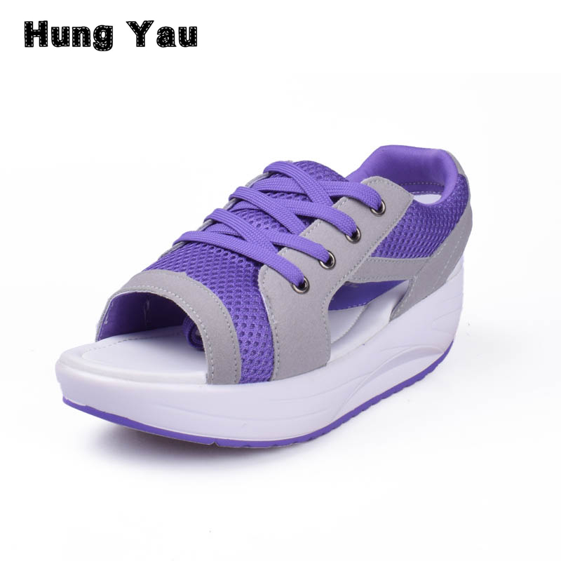 Hung Yau Fashion Summer Women's Sandals Casual Mesh Breathable Shoes Women Ladies Wedges Sandals Lace Platform Sandalias Size 40 women creepers shoes 2015 summer breathable white gauze hollow platform shoes women fashion sandals x525 50