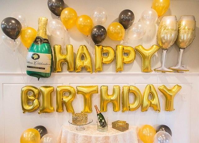 Ensemble doré de ballons danniversaire   Décorations de fête danniversaire, couleur Champagne-21st-30th-40th-50e-fournitures de fête danniversaire, amusantes