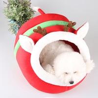 Pet cat dog bed nest dog house kennel cute pet dog warm pet bed washable Christmas Reindeer Shape