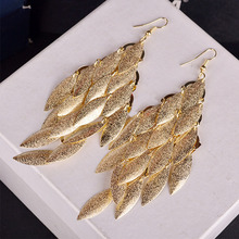 Women Fashionable Popular Multilayer Metal Tree Leaf Drawbench Drop Earrings Long