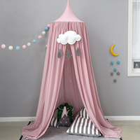 INS Cotton Baby Canopy Children's Room Cute Mosquito Nets Dome Bed Palace Nets Pink White Khaki Black Blue Gray Mosquito Net
