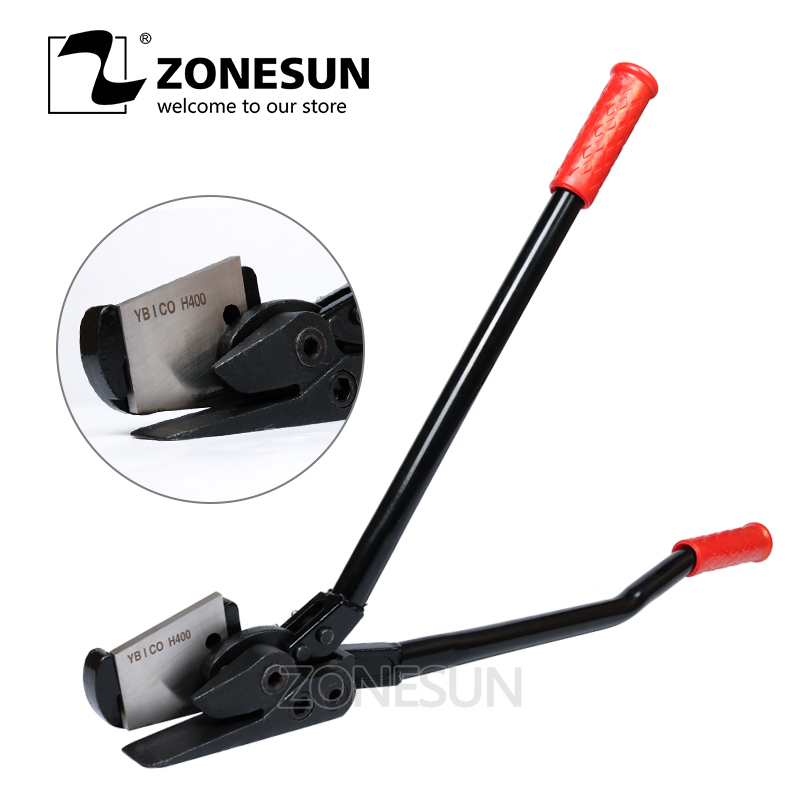 цена на ZONESUN Manual Strapping Tool Short Handle cutter steel band cutting tool strapping machine hand tool set