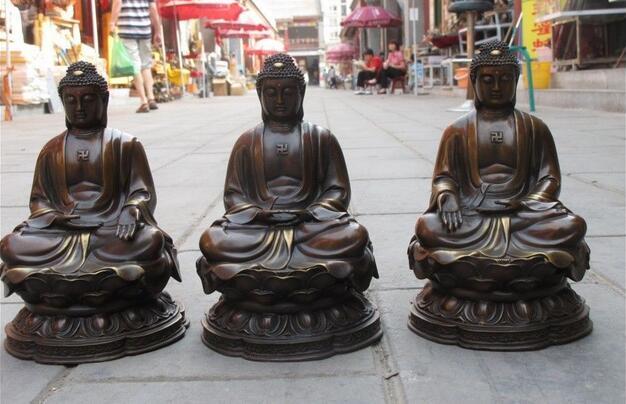 Exquisita artesanía de bronce Tibet, tres Amitabha Tathagata Sakyamuni, conjunto de Buda
