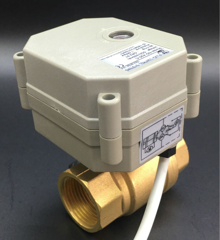 TF20-B2-C engrenage métallique marche/arrêt 5 Sec 2 voies DN20 robinet à tournant sphérique électrique avec indicateur BSP/NPT 3/4 ''Port complet AC/DC 9 V-24 V 2/5 fils