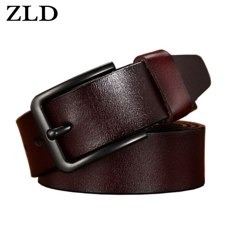 ZLD mens belt leather men male cow genuine strap luxury pin buckle fancy vintage jeans cintos masculinos