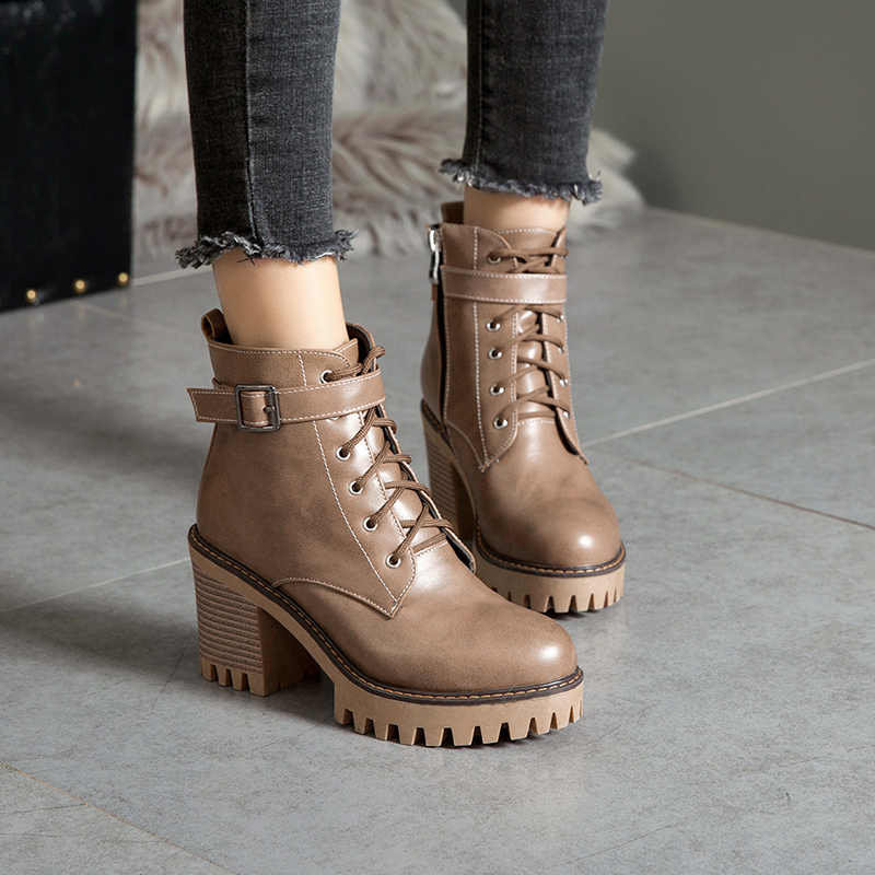 WETKISS/большой размер 44; женские ботильоны на высоком каблуке; обувь на шнуровке с круглым носком; женские мотоциклетные ботинки; обувь на платформе; женская зимняя обувь