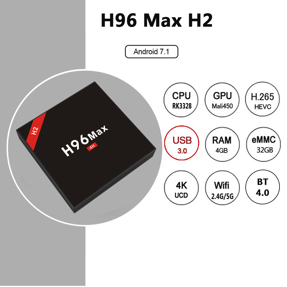 2018 New H96 MAX H2 Android 7.1 TV box Rockchip RK3328 Quad-core 4GB 32GB Set Top Box IPTV Media Player Ultimate Version Black соловьев в великие поэты том 66 владимир соловьев мчи меня память
