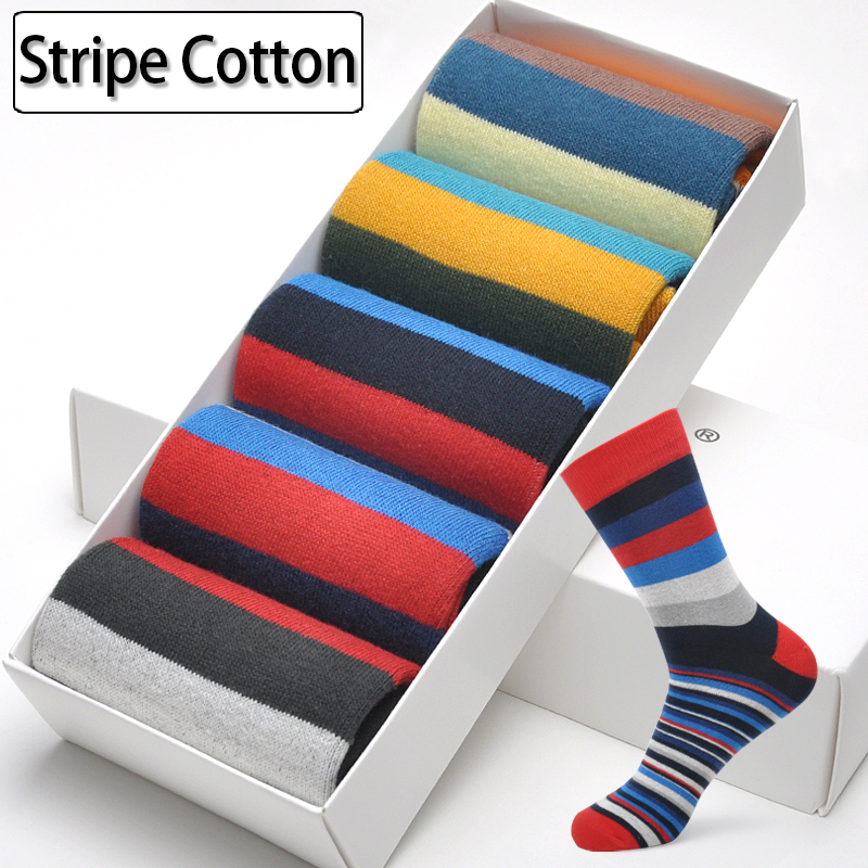 Men Cotton Stripe Socks Brand New Multi-Color Anti-Bacterial Comfortable Deodorant Breathable Casual Man Sock (5 Pairs / Lot)