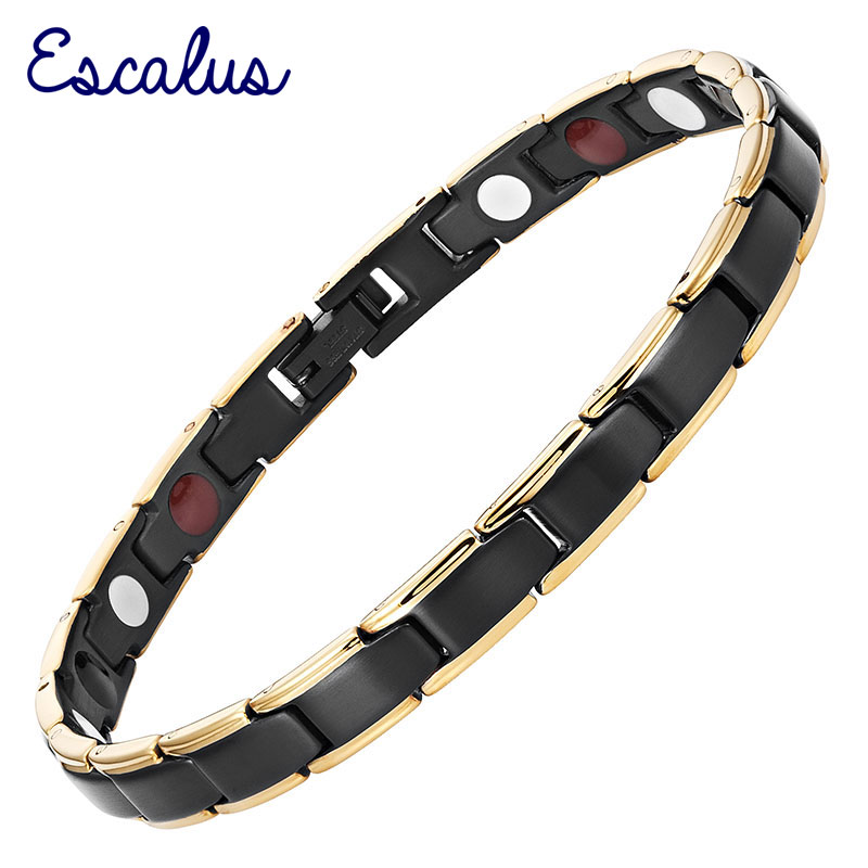 Escalus Women 4in1 Magnet Negative Ion Germanium Far Infra Red Stainless Black Gold Bracelet Bangle Wristband Charm