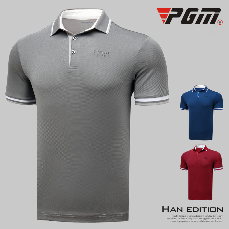 2018 New Arrival PGM Men's Golf T-shirt Summer Short Sleeve T-shirt For Men Outdoor Quick-drying Breathable Golf T Shirt everio summer golf t shirt short sleeve polo shirt quick dry breathable golf wear 5colors