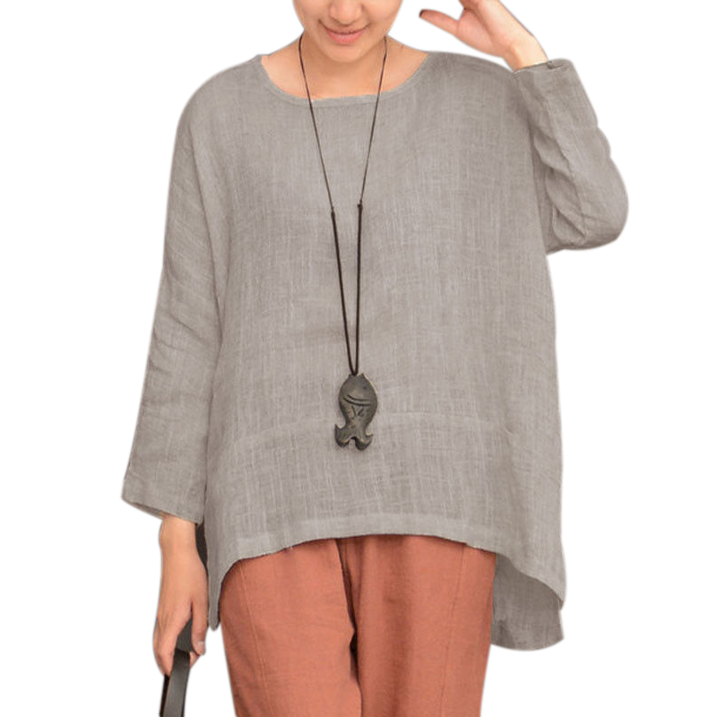 Women Long Sleeve Oversize Vintage Casual  Tops Asymmetrical T-Shirt Free Shipping