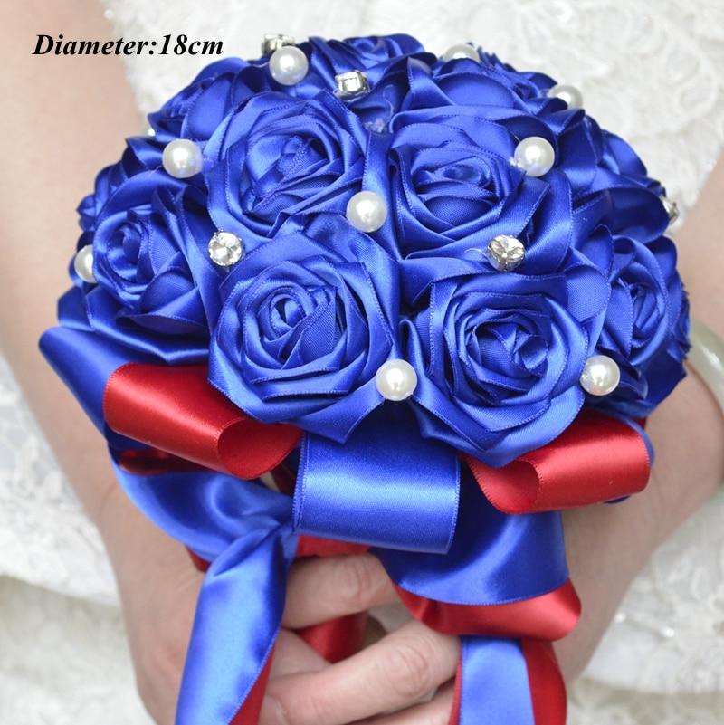 Braut Hochzeit Bouquet Handgemachte Silk Satin Rose Blume Europäischen Royal Blue Braut Strauß Brautjungfer Hochzeit Bouquet De Mariage Dinge Bequem Machen FüR Kunden