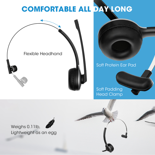 Mpow M5 Bluetooth 4.1 Headset Wireless Over-Head Noise Canceling Headphones With Crystal Clear Microphone For Trucker/Driver