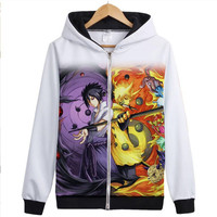 Naruto Hoodie New Anime Kakashi Uchiha Sasuke Sharingan Cosplay Coat Uzumaki Naruto Jacket Autumn Men Zipper Coat Sweatshirts