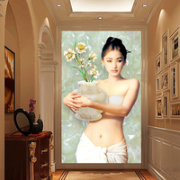 사용자 정의 3d 사진 벽지 벽화 섹시한 소녀 아름다움 유화 프레스코 KTV 스파 샤론 거실 복도 문 홈 장식