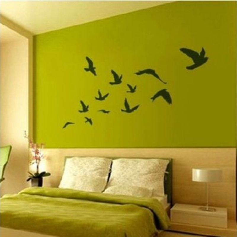 Stor storlek Gratis frakt Pretty Birds Flying Wall Stickers Avtagbar Art Vinyl Dekoration (200CMX110CM), fågel väggdekaler P2020