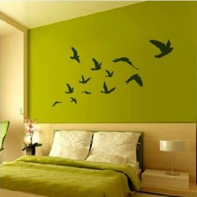 Large size Free Shipping Pretty Birds flying Wall Stickers Removable ...