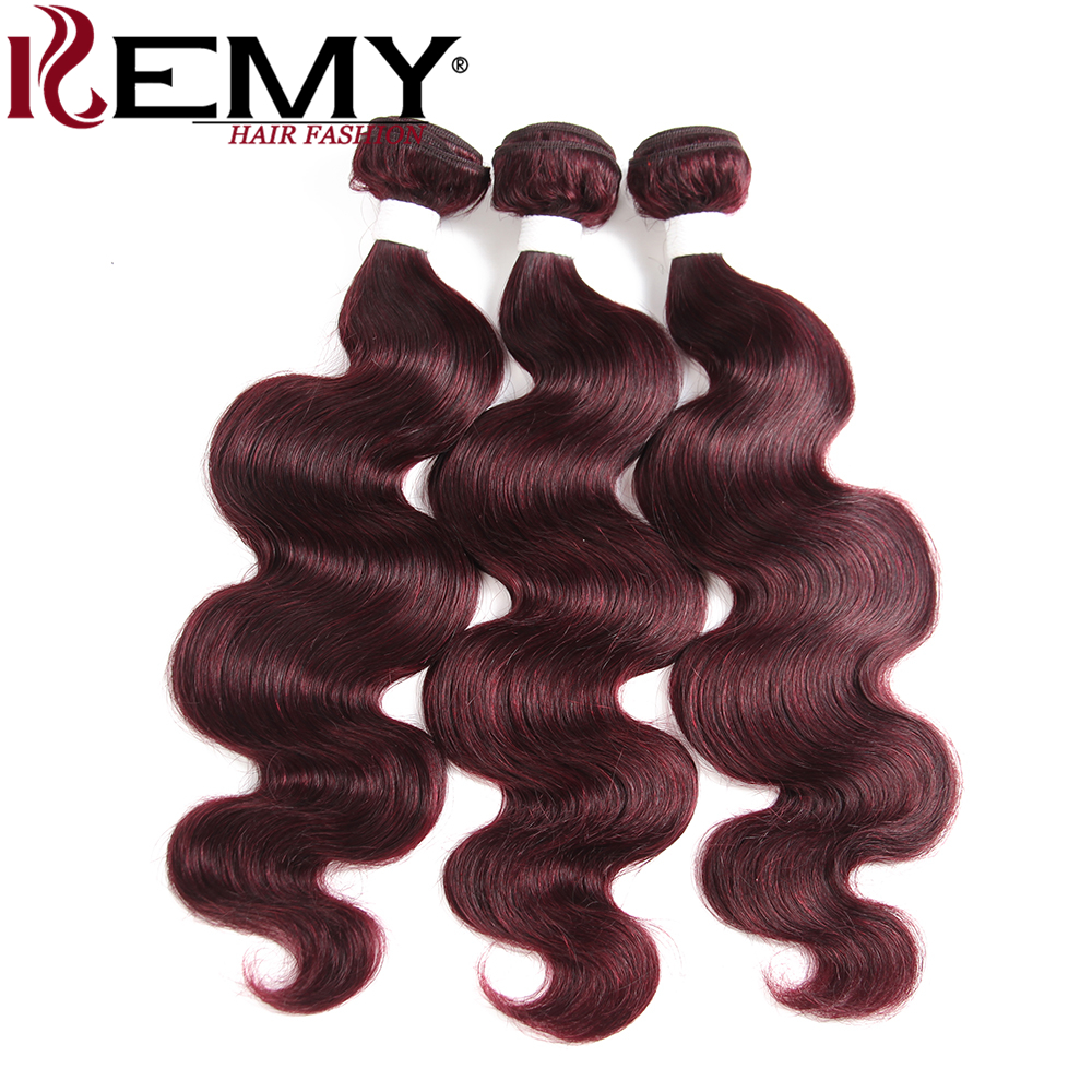 99J Burgundy Red Color Body Wave Human Hair Bundles KEMY HAIR 100 Brazilian Non Remy Hair