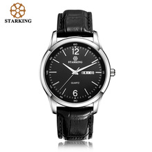 STARKING Men Dress Japan imported quartz movement 2016 New Fashion Genuine Leather Strap Famous Brand Black Wrist Watch BM0948 купить недорого в Москве