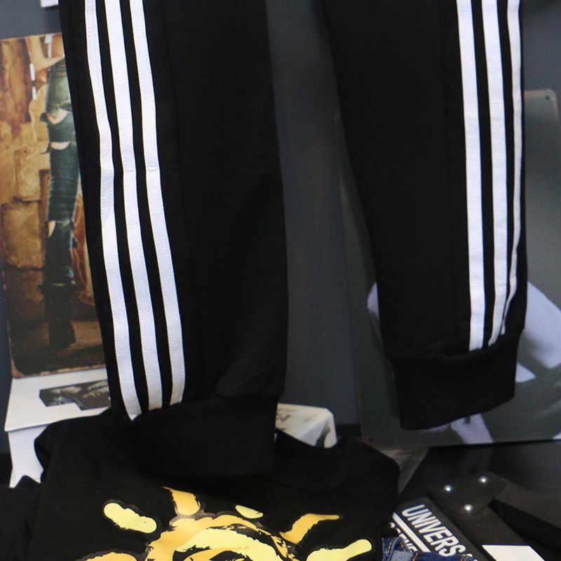春と秋 2020 女性カジュアルハーレムパンツ黒白のストライププリントサイドパンツ女性ルースズボン 5XL ビッグサイズ c1115