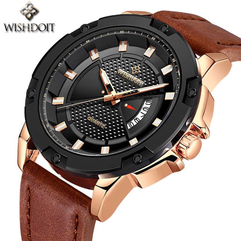 2019 WISHDOIT Original Brand Luxury Fashion Mens Watches Quartz Clock Leather Waterproof  Military Wrist Watch Relogio Masculino