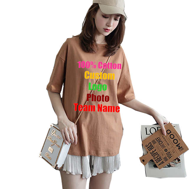 Candy Colors Oversized Loose Female Women Cotton T-shirt Short Sleeve Customized  Custom Logo DIY