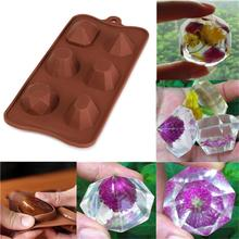 Ice Cube Tray Mold Gem Diamond Chocolate Candy Moulds Muffin Cup Cake Mold Silicone Cupcake Kitchen Baking Tools skeleton skull head silicone chocolate muffin cupcake candy ice cube mold halloween
