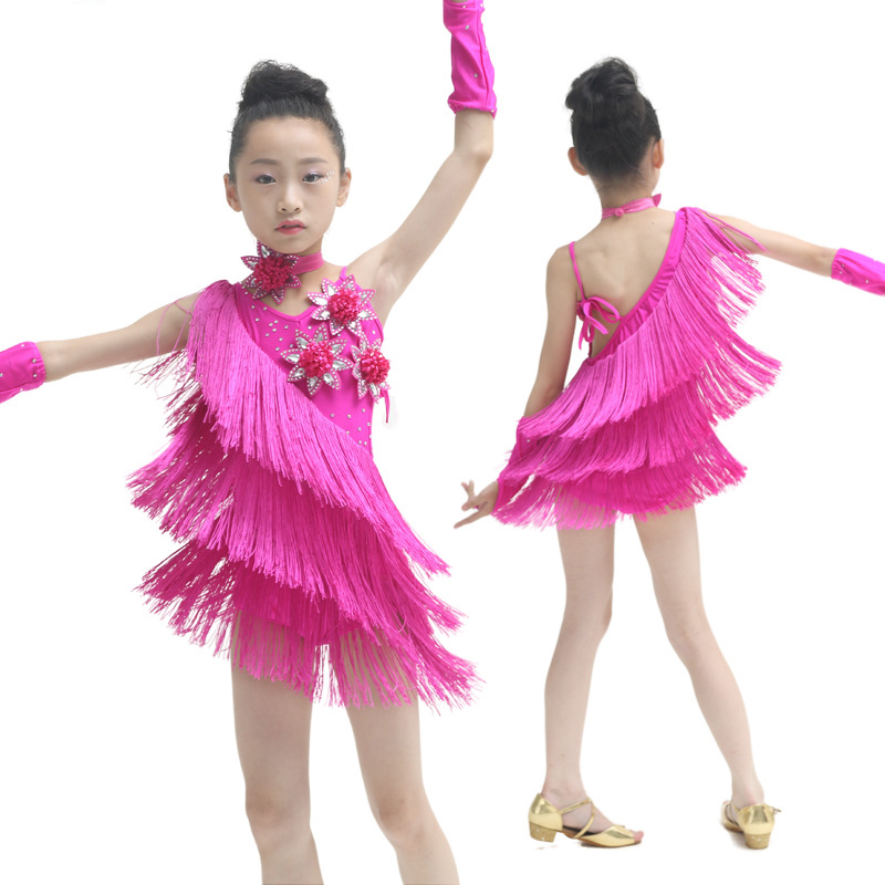 5-15 Years Old Girl Kids Flash Tassel Rumba Salsa Latin Dance Dress Children Tango Cha Cha Standard Competition Dancing Clothing