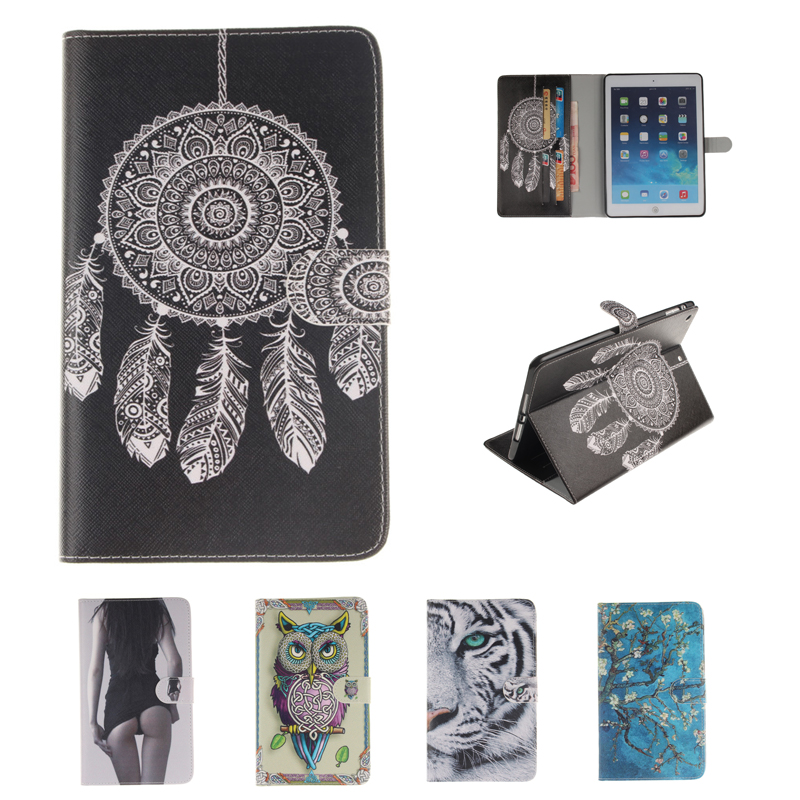 Painted PU Leather Stand Case For Apple iPad mini 4 Case Folio Stand Protector Case For Apple iPad mini4 Tablet Cover Case