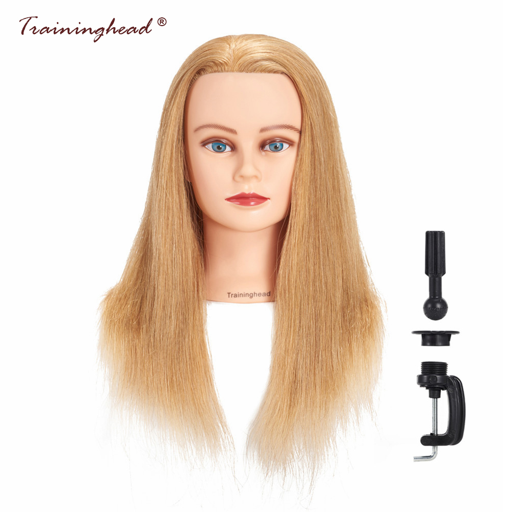 Traininghead 20-22 Mannequin Head 100% Human Hair Hairstyles Training Headm 24-26 Hairdresser Female Mannequin Doll Head Gold