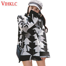 2018 Spring Autumn New Coat long-Sleeved Female Korean Version Loose Long Sleeved Sweater Wearing Tide Black White Tassel Z239(China)