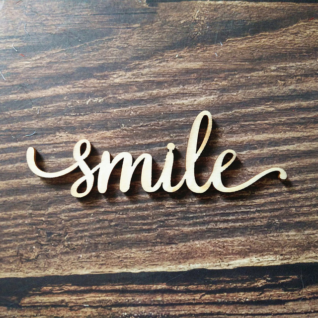 10pcs laser cut unfinished wood smile script word sign wooden words