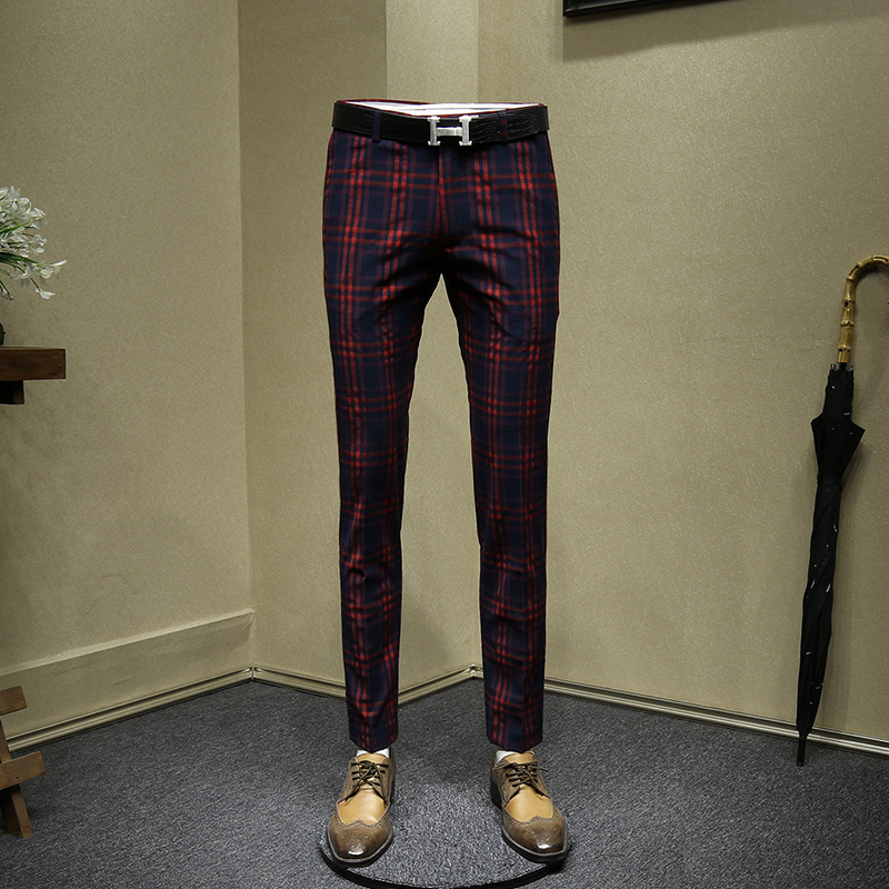Mens Dress Pants Red Wedding Groom Wear Slim Fit Office Pants Men Plaid Korean Style Fashion Business Man Trousers