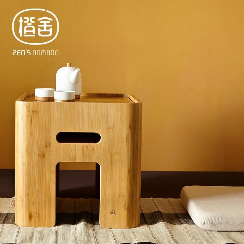 ZEN\'S BAMBOO almacenamiento otomana mesa de café japonés pequeña ...