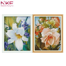 NKF cross stitch flowers kits for embroidery printed on canvas pattern the fabric DMC 11CT 14CT DIYcraft