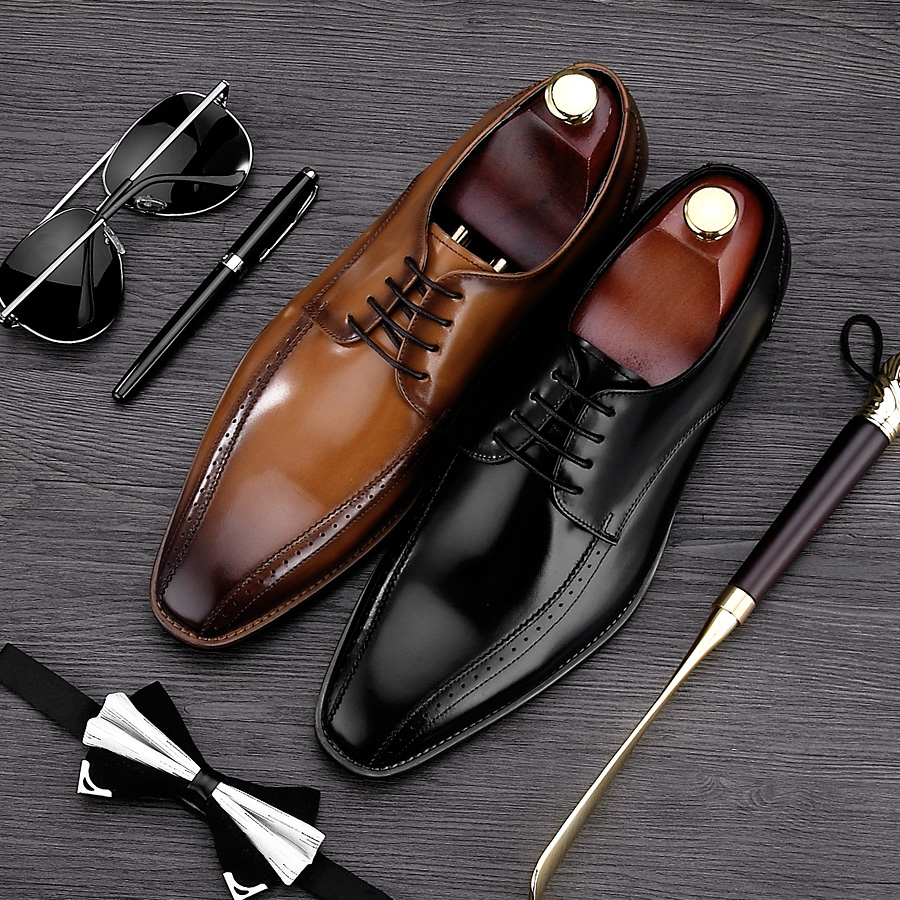 Vintage Italian Style Pointed Toe Carved Man Formal Dress Shoes Genuine Leather Handmade Oxfords Mens Derby Wedding Flats NE24Vintage Italian Style Pointed Toe Carved Man Formal Dress Shoes Genuine Leather Handmade Oxfords Mens Derby Wedding Flats NE24