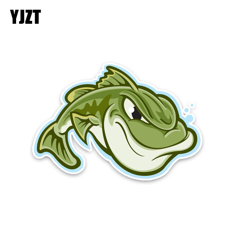 YJZT 13.7*9.5CM Green Unhappy Aggressive Fish Car Sticker Animal Personality Nice Quality Decals Fashion PVC C1-3241