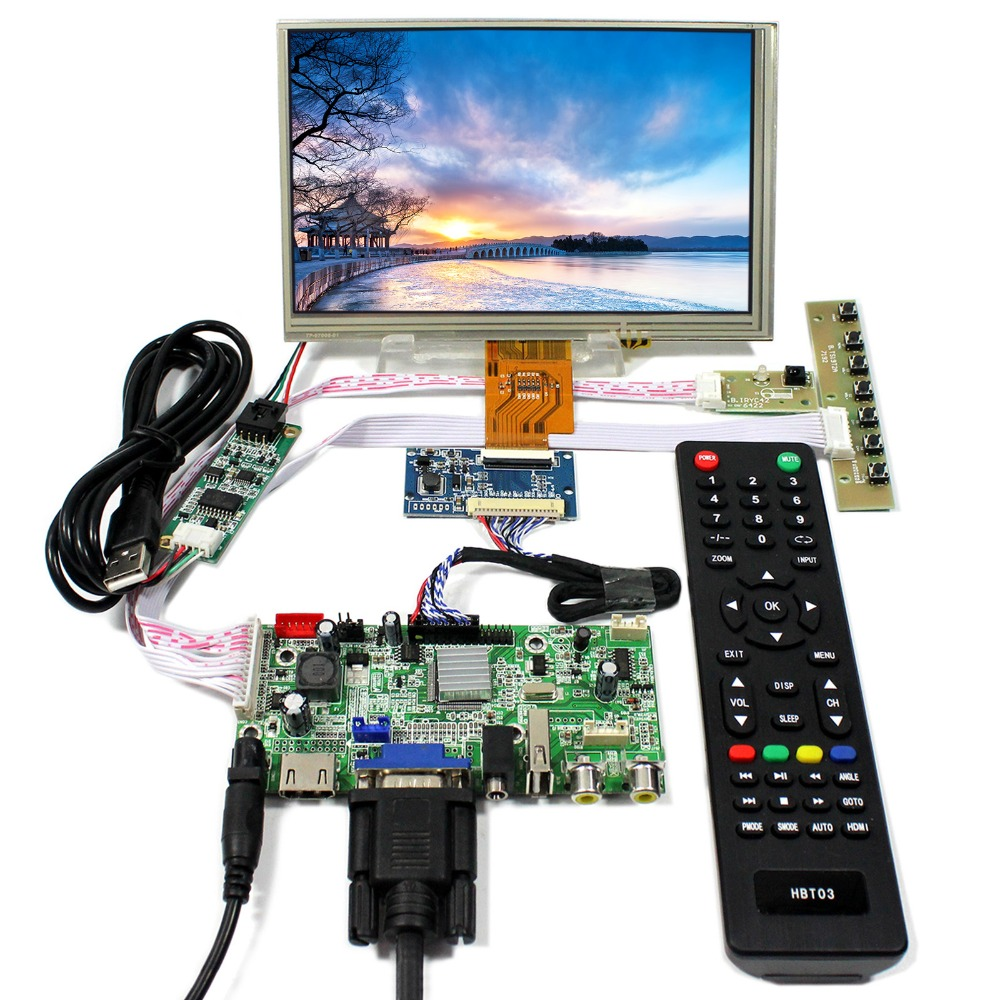 HDMI VGA AV Audio USB LCD Control Board With 7inch 1024x600 AT070TNA2 Touch LCD Panel hdmi dvi vga lcd control board 14 1inch lp141wx3 1280 800 lcd panel touch pael