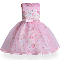 European and American style cute ice cream print children canonicals summer sweet baby girl bow sleeveless mesh princess dress