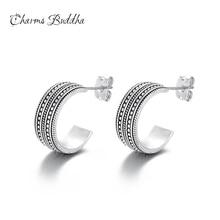 hot deal buy 2018 fashion 925 silver punk simple c bar buddha earrings for women ear stud earrings fine jewelry geometry brincos bijoux