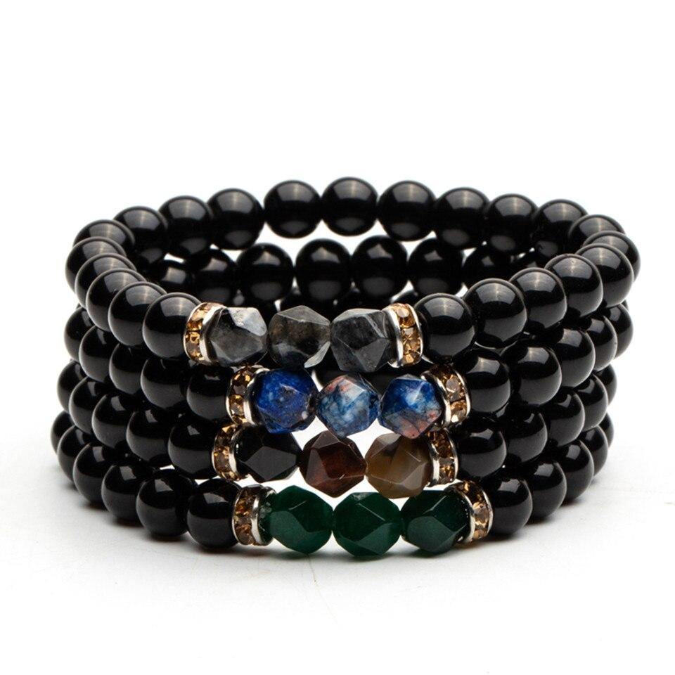 Hematite and Natural Beaded Bracelet for Men