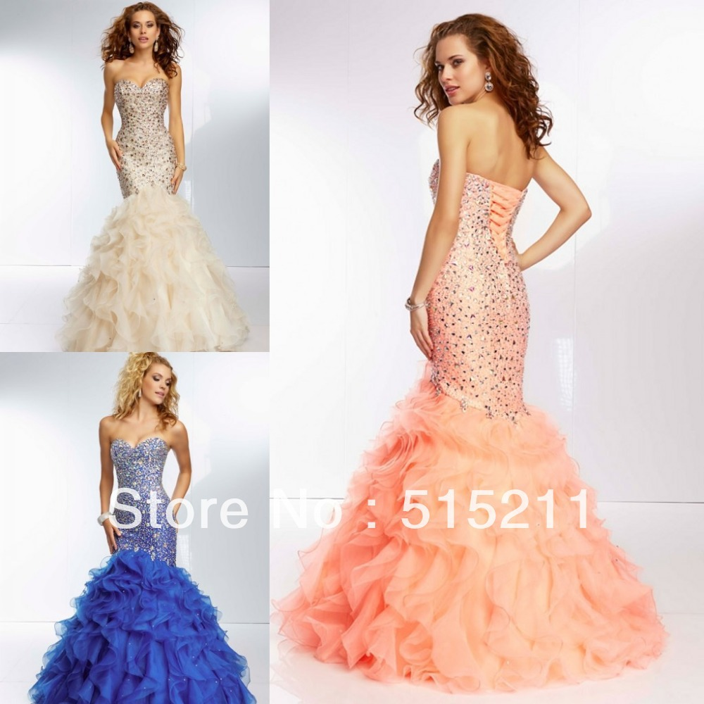 Gorgeous Beaded Sweetheart Orange Ruffles Coral Blue ...