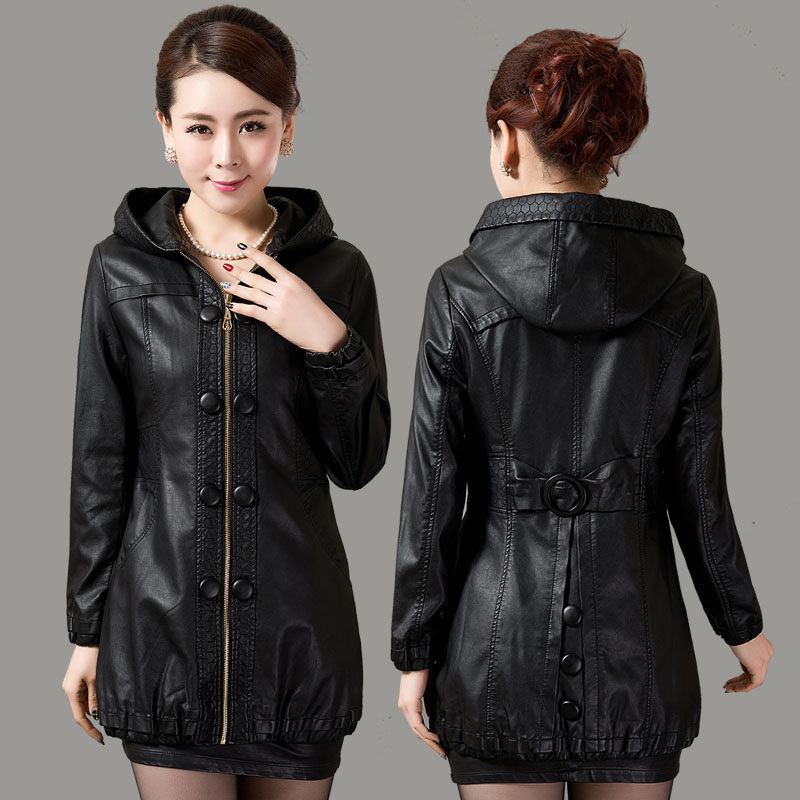 5XL 2019 Fashion Middle-aged   Leather   Coats Women's Spring Autumn Clothing Long Section Slim Large Size PU   Leather   Jacket A1267
